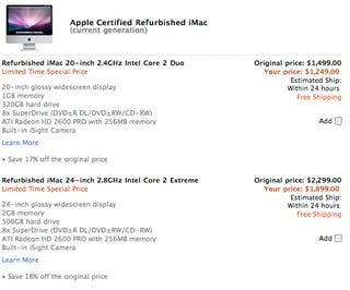 """Illustration for article titled Apple Store Special Deals Blowout Includes $400-Off Aluminum iMac 24"""""""