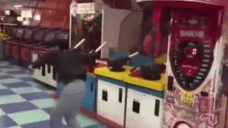 Dude Kills Arcade Machine With Badass Spinning Kick