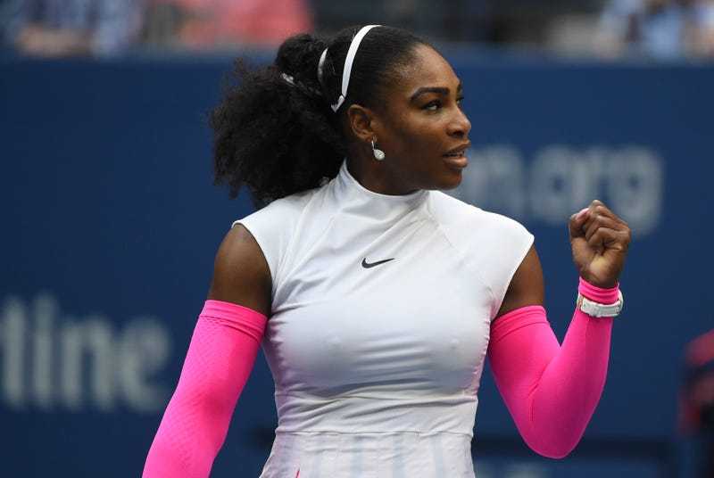 Serena Williams reacts after defeating Yaroslava Shvedova at the U.S. Open in New York City on Sept. 5, 2016. KENA BETANCUR/AFP/Getty Images