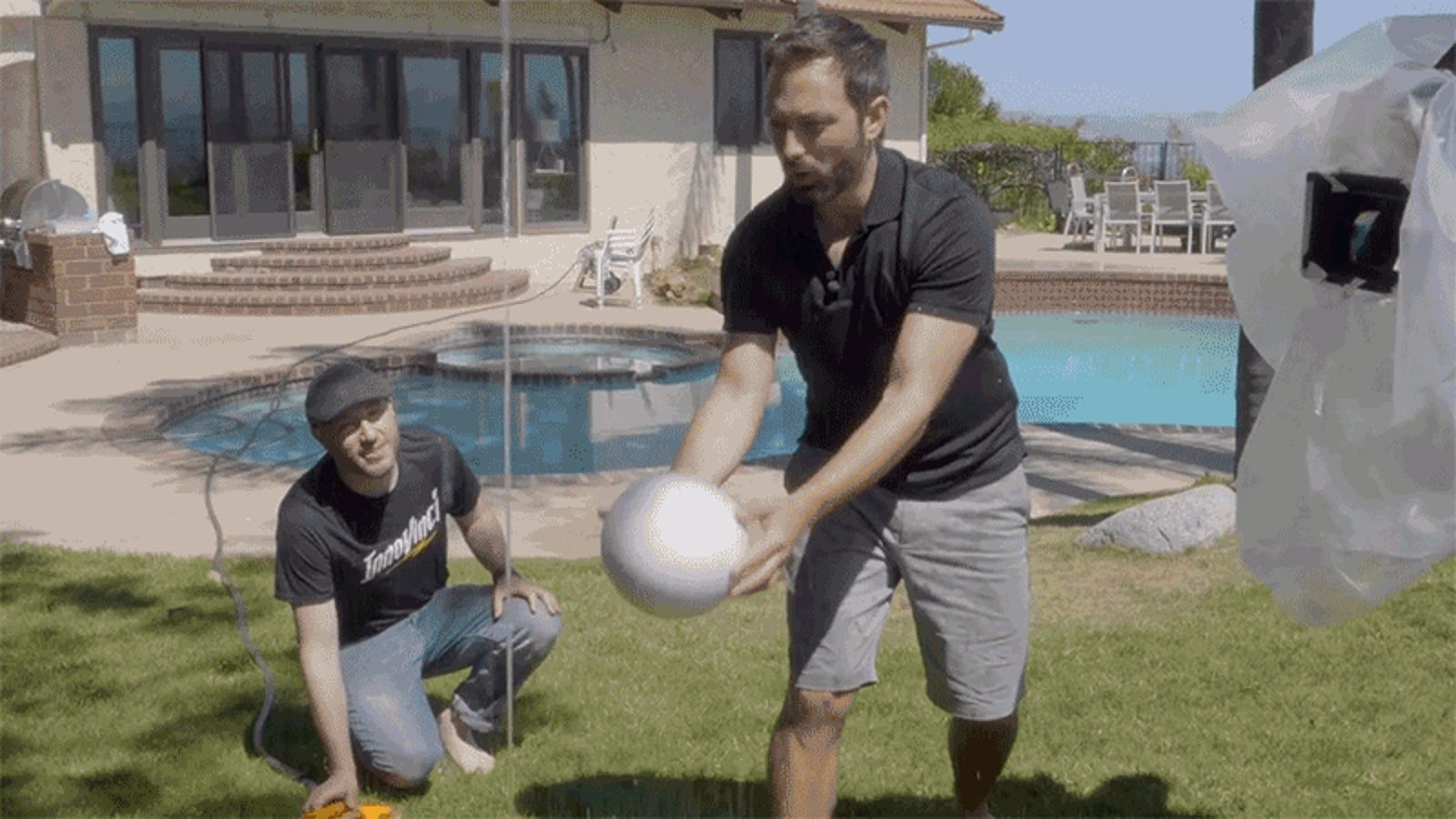 What Sorcery Keeps This Giant Ball Floating on a Tiny Stream of Water?