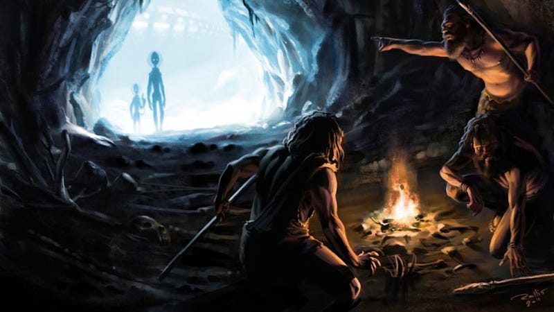 Illustration for article titled Concept Art Writing Prompt: Aliens Encounter the Cavepeople