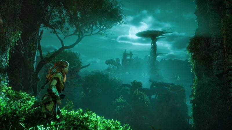 A dinsoaur that you will climb in Horizon: Zero Dawn. (Screenshot: Sony)