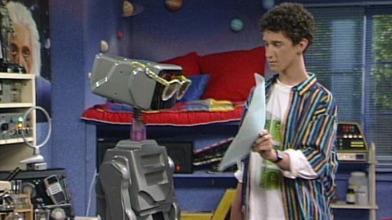 Saved By The Bell's Screech with his robot companion/captive, Kevin.