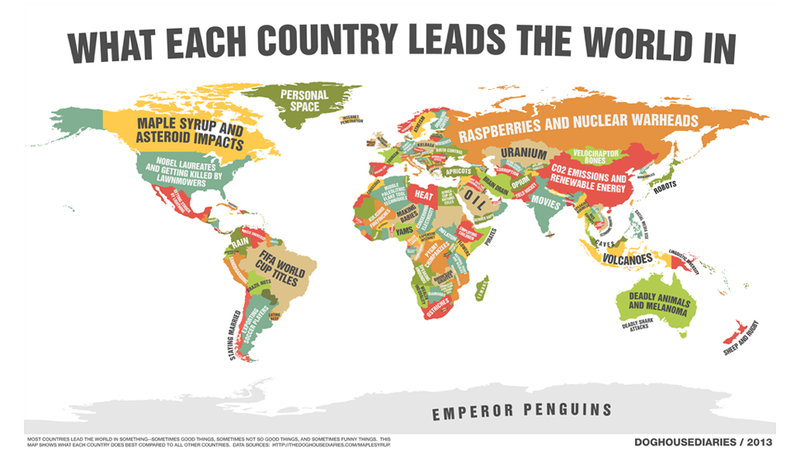 Illustration for article titled A Map of What Every Single Country Leads the World In