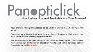 Illustration for article titled Panopticlick Determines How Unique and Trackable Your Browser Is, Even with Cookies Turned Off