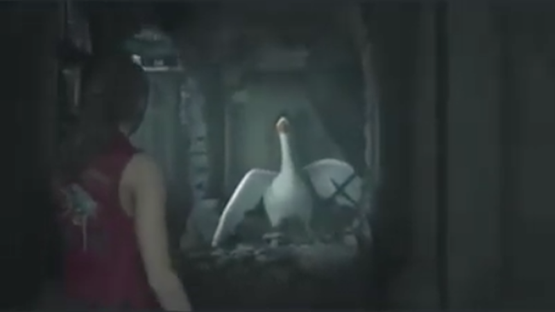 Illustration for article titled Honk if you're horror-ny: That (untitled) goose is now terrorizing Resident Evil 2