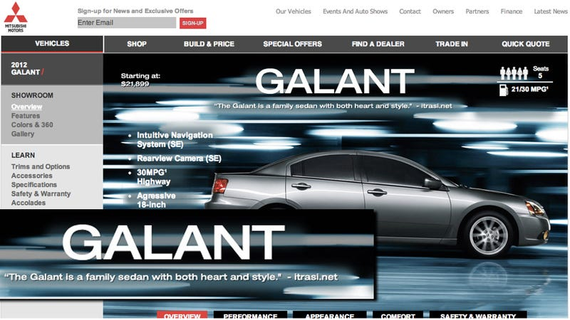 Illustration for article titled Mitsubishi Credits Non-Existent Website With Praise For Its Worst Car