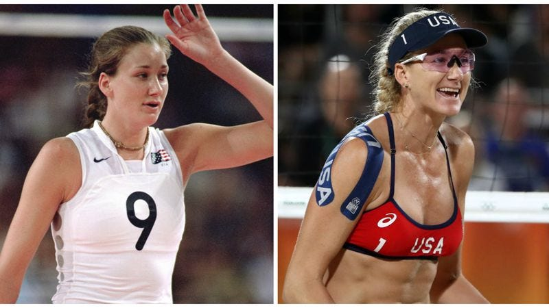 Kerri Walsh-Jennings at 21 and 37 (Photos: Jamie Squire/Getty & Ezra Shaw/Getty)