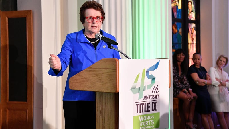 Billie Jean King speaks at an event commemorating the 45th anniversary of Title IX