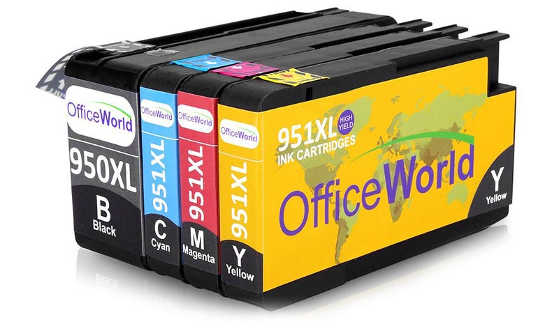 Cartuchos de tinta compatibles con impresoras HP de la marca Office World.