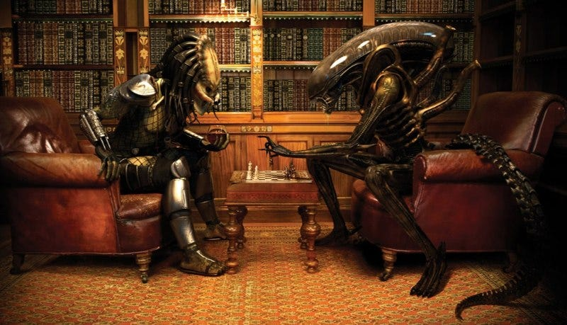 Illustration for article titled Alien vs Predator Poster Reminds Me of Kasparov vs Karpov