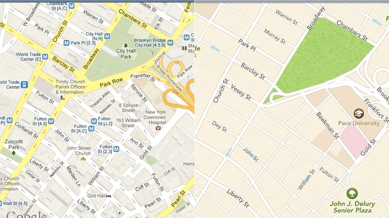 Illustration for article titled Google Maps vs. Apple Maps: A Side-By-Side Comparison