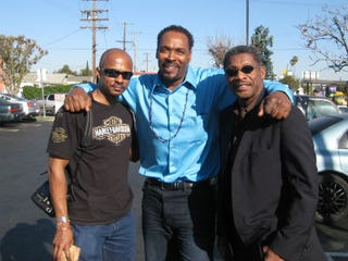 Ebony photo editor Dudley Brooks, Rodney King and the writer in April