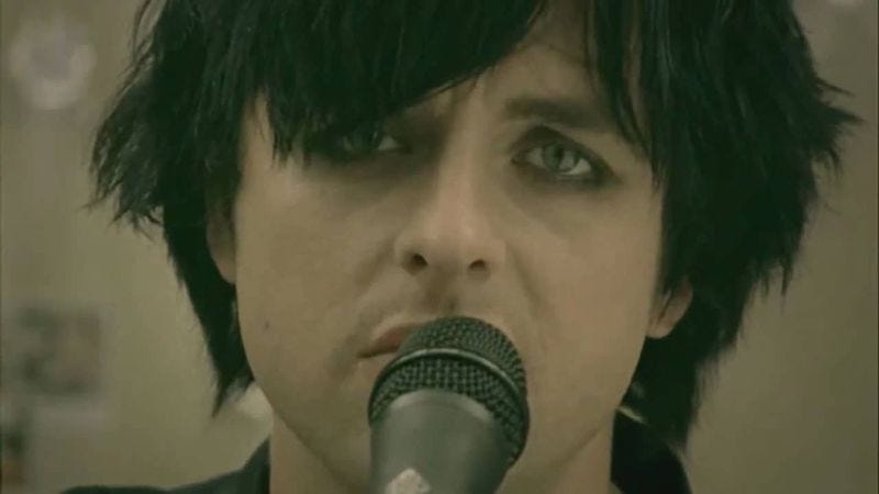 "Sad Billie Joe Armstrong in Green Day's ""21 Guns"" video"