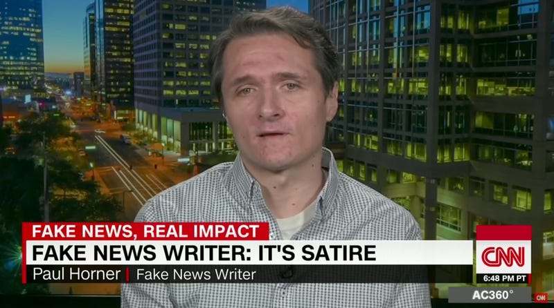 "Screenshot from a December 2016 segment on CNN featuring Paul Horner who defended his publication of wildly successful fake news articles as ""satire"""