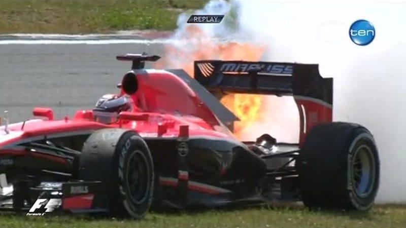 Illustration for article titled Future Ferrari F1 Driver's Car Catches Fire