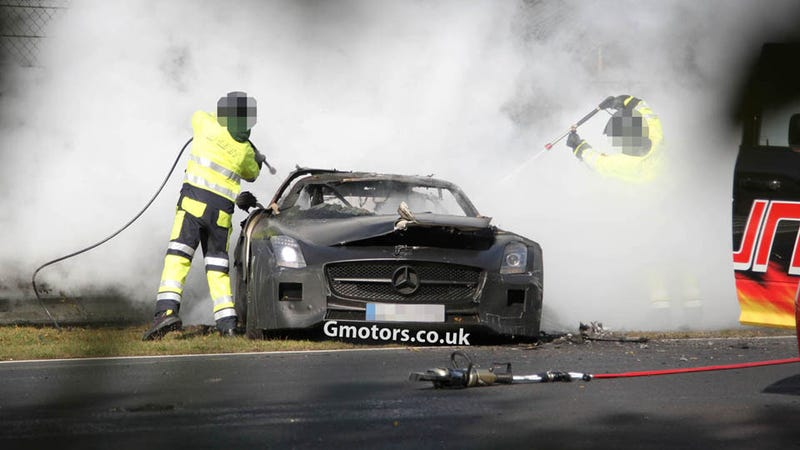 Illustration for article titled Mercedes SLS AMG Black Prototype Crashes And Burns On The Nürburgring