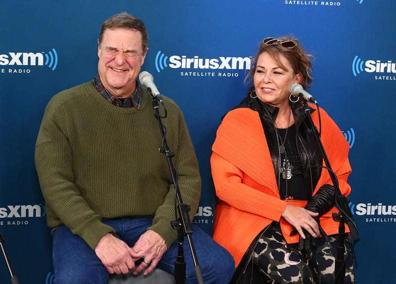 Actors John Goodman and Roseanne Barr during SiriusXM's Town Hall with the cast of Roseanne on March 27, 2018, in New York City