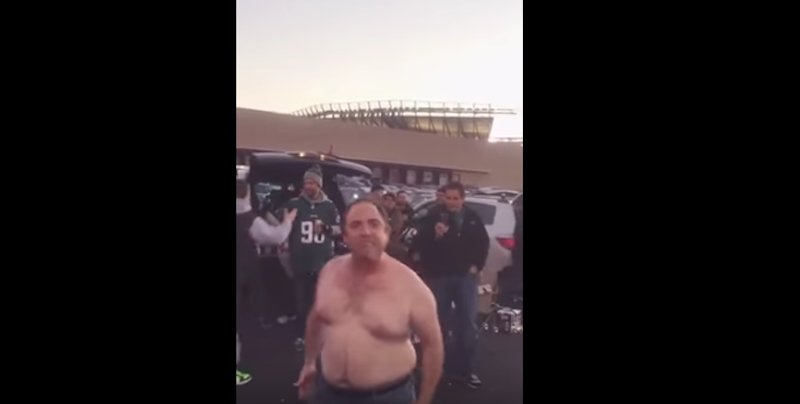 Illustration for article titled Shirtless Eagles Fan Gives Deeply Uncomfortable Pregame Speech