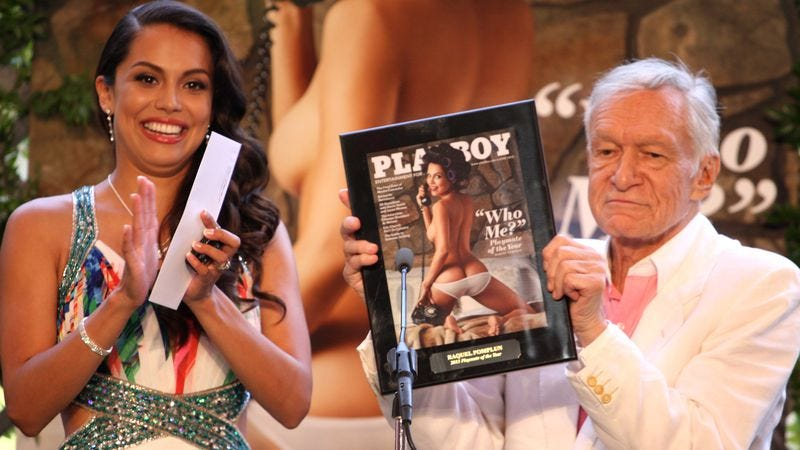 Former Playmate of the year Raquel Pomplun and Hefner (Credit: Tommasso Boddi/Getty)
