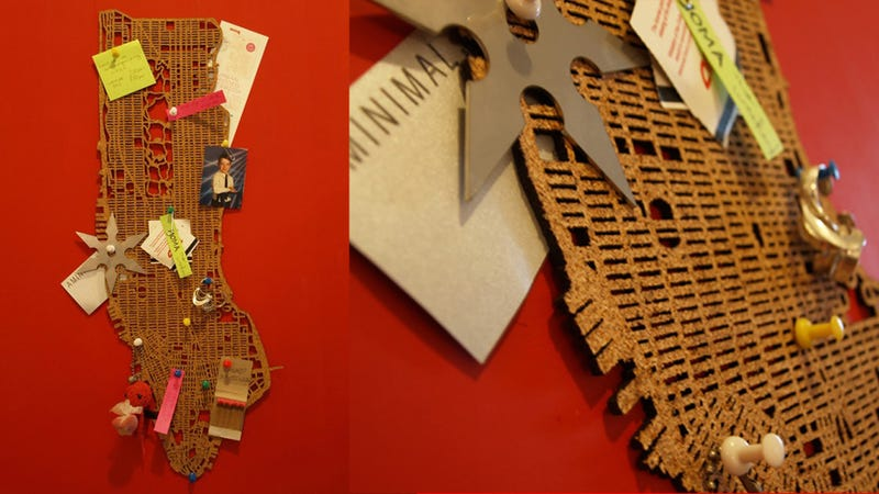 Illustration for article titled This Laser Cut Map of Manhattan Is the Only Cork Board I'd Hang On My Wall