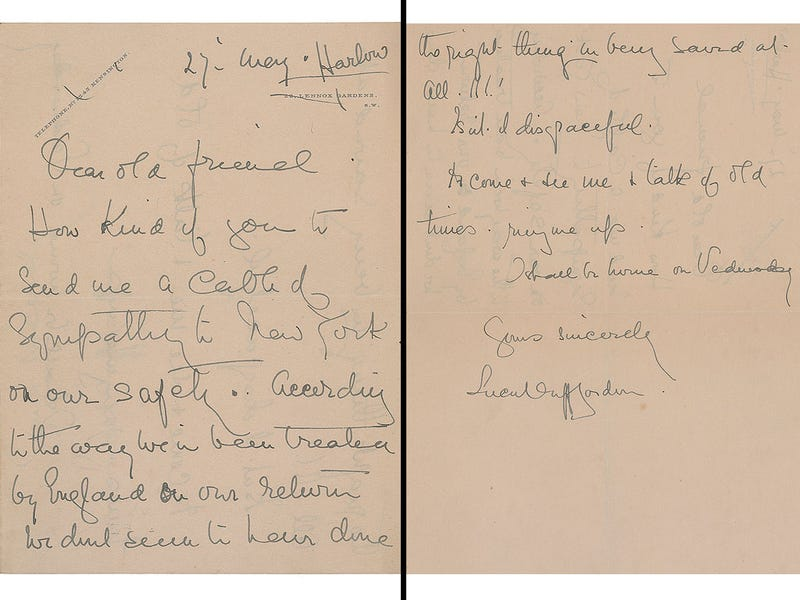 Illustration for article titled Huffy Letter Written By Titanic Survivor Sells For $12,000