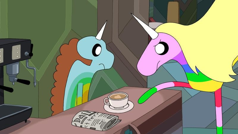 Illustration for article titled Adventure Time soars with a rare Lady Rainicorn spotlight