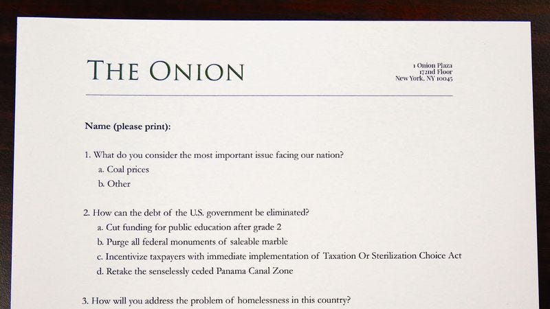 Illustration for article titled 'The Onion' Is Withholding Our Endorsement For President Until Both Candidates Respond To Our Questionnaire