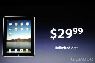 Illustration for article titled Apple iPad Data Plans: Unlimited Data For $30/Month With No Contract