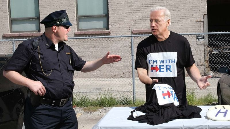 Illustration for article titled Biden Busted In DNC Parking Lot Selling Bootleg 'I'm With Her' T-Shirts