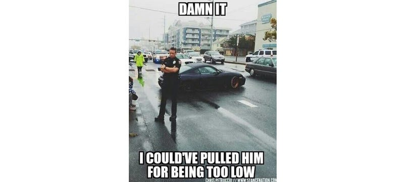 Illustration for article titled I Can't Stop Staring At This Instagram Of Cops Pulling Over Stanced Cars