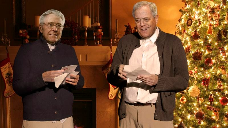 Charles Koch says that, in retrospect, he should have splurged and bought his brother a whole state legislature.