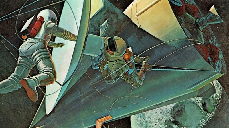 1960s illustration of what space exploration was supposed to look like