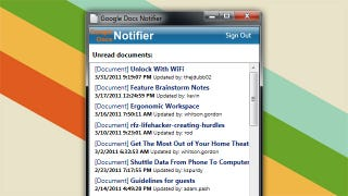 Illustration for article titled Google Docs Notifier Displays Recent Google Docs Activity in Your Windows System Tray