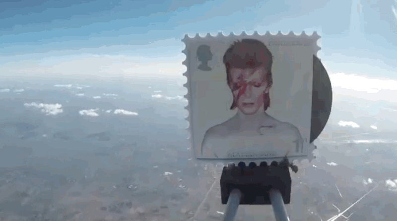 Bowie Stamps Launched Into Space on Helium Balloons