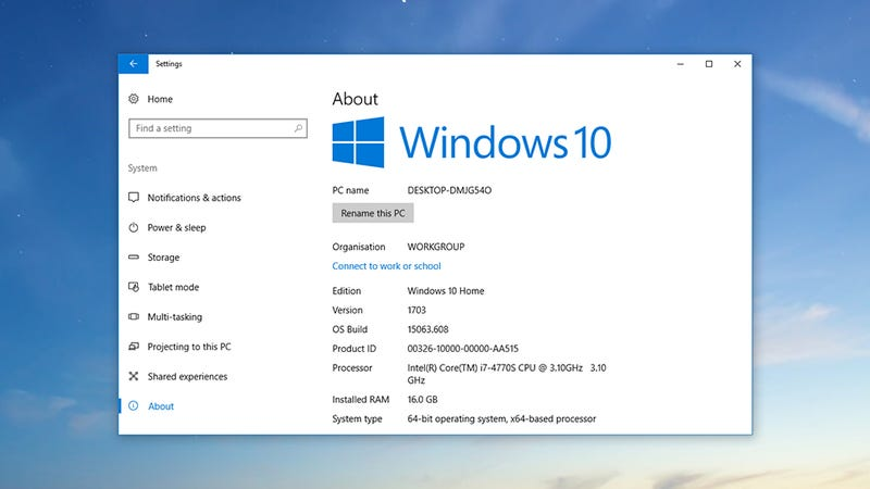windows 10 how to find your specs