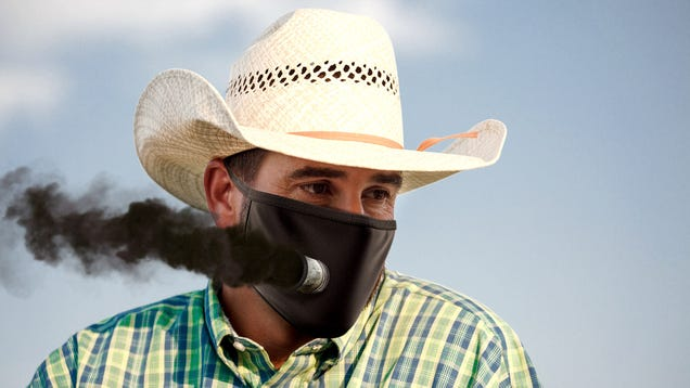 Texan Man Outfits Face Mask With Exhaust Pipe To Roll Coal