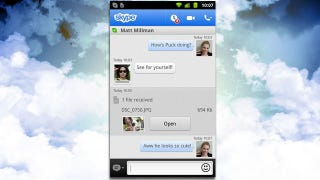 Illustration for article titled Skype for Android Adds Photo and Video Messaging over Wi-Fi and 3G