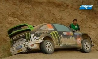 Illustration for article titled Ken Block's WRC Mexico Crash: Brake!