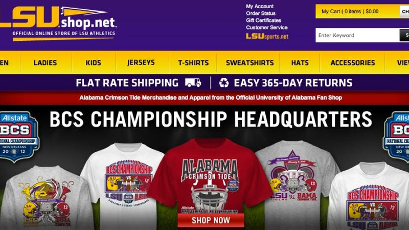 Illustration for article titled LSU's Official Online Store Has Been Hacked To Display Alabama Merchandise [UPDATE: Just A Glitch!]