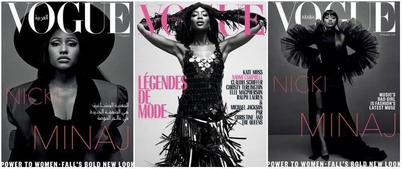 (L and R) Nicki Minaj covers Vogue Arabia; (c) Naomi Campbell covers Vogue Paris
