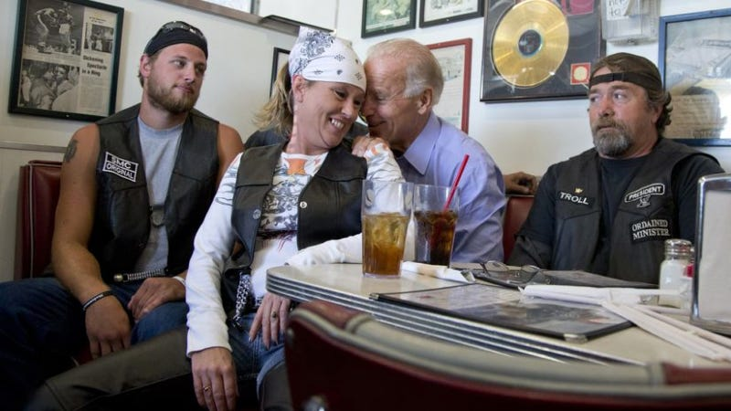 Illustration for article titled Despite Appearances, This Biker Chick Did Not End Up In Joe Biden's Lap