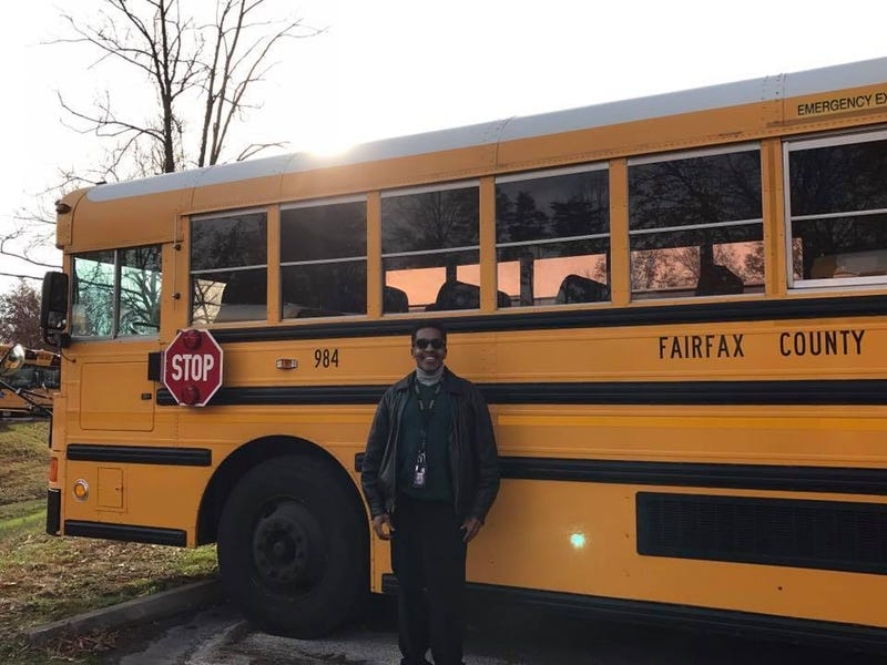"""Rick Taylor with a Fairfax County, Va., school bus: """"Don't forget those parents who think their darlings can do no wrong.""""Rick Taylor"""