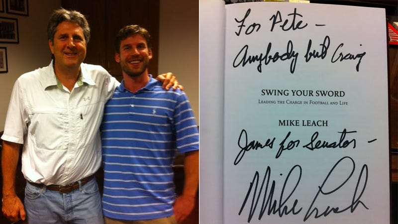 """Illustration for article titled Another Mike Leach Book Inscription: """"Anybody But Craig James For Senator"""""""