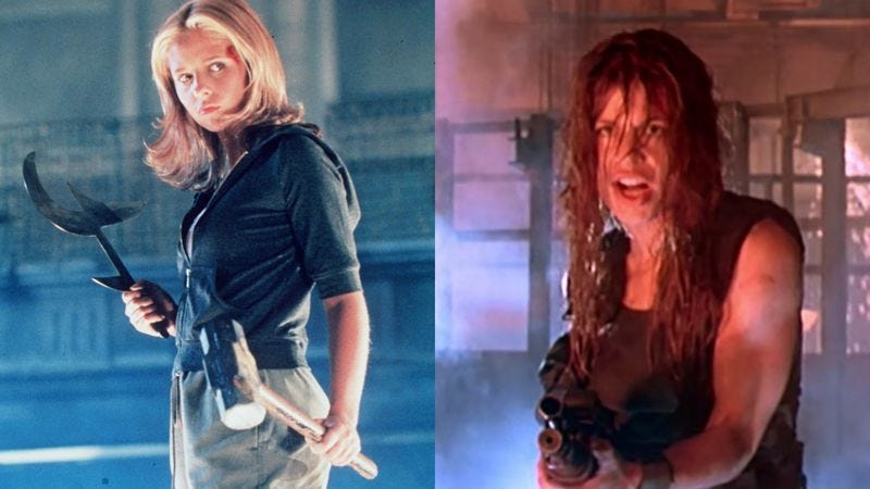 Sarah Michelle Gellar in Buffy The Vampire Slayer (left), Linda Hamilton in Terminator 2: Judgement Day (Photo: Getty Images/Handout; Screenshot: YouTube)
