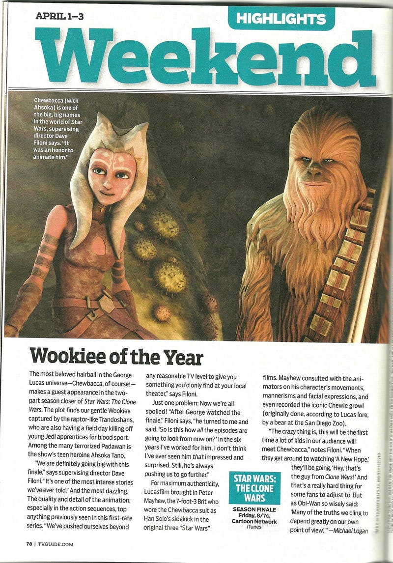 Illustration for article titled Clone Wars Chewbacca in TV Guide
