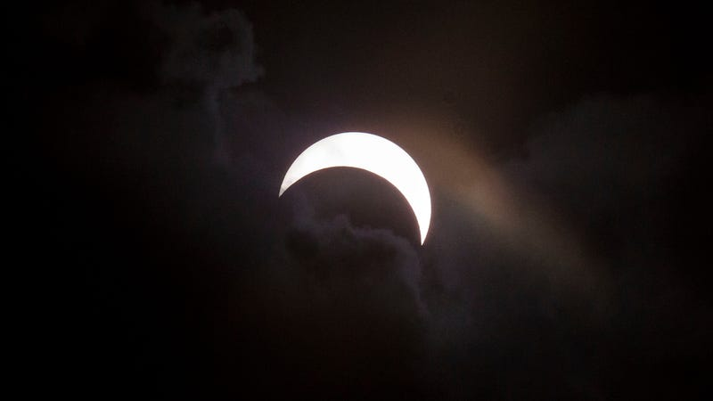 A 2016 solar eclipse in Indonesia. Photo via Getty Images.