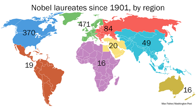Illustration for article titled This map of Nobel prize winners shows a disturbing level of inequality
