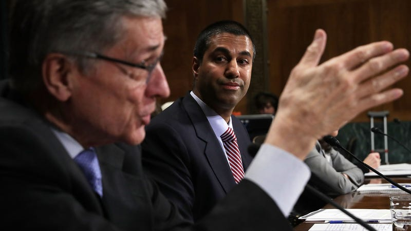 Former FCC Chairman Tom Wheeler (left), and new FCC Chairman Ajit Pai (right). Photo by Getty Images.