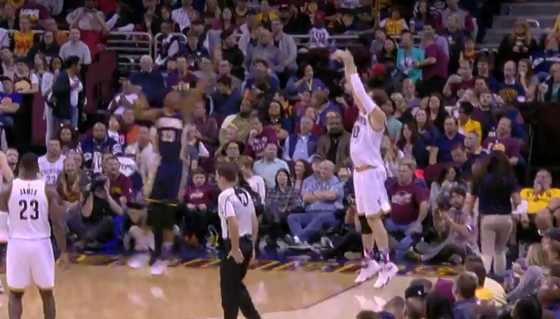 Illustration for article titled Timofey Mozgov Hit First Cleveland Three-Pointer